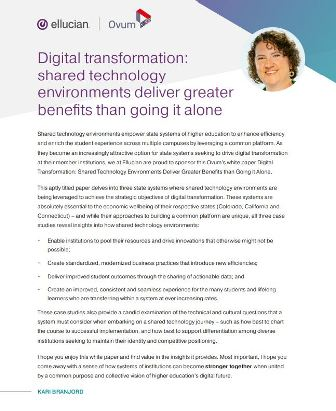 Digital transformation-Shared technology environments deliver greater benefits than going it alone-Report