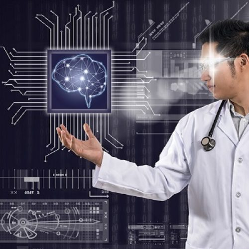 Asian Doctor with the stethoscope equipment hand holding the Artificial intelligence of brain technology over Innovation digital screen background, AI and technology physician concept